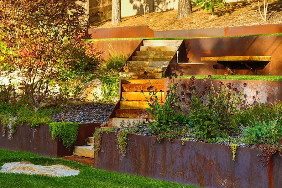 Rusted Metal Hardscaping Services Utah Greenside Landscaping
